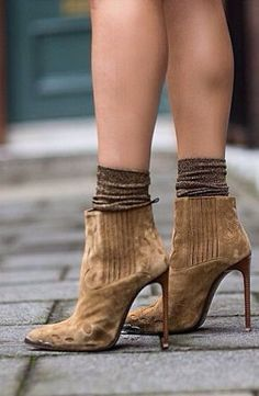 Camel Suede Pointy Toe Booties by They All Hate Us