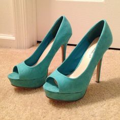 Breckelles Aqua Peep Toe Heels Never worn!! Suede peep toe pumps. Super cute and comfy. Slight markings on front of right shoe, shown in pic 4 Breckelles Shoes Heels