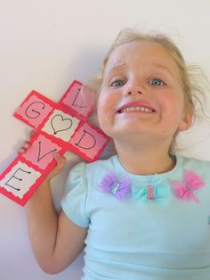 VALENTINE'S GOD'S LOVE CROSS - a simple Valentine's Day craft activity & Bible lesson. Also, teaches letters and matching skills for Pre-K children. By egglo.com