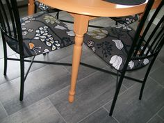 Another project: painted kitchen table and newly upholstered chairs