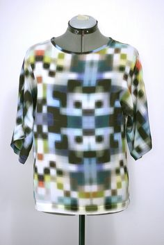 Silk tee in pixel print from Ermie