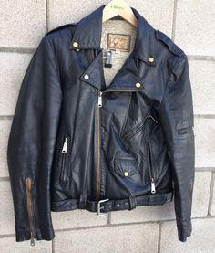 Vintage Black Leather Biker Distressed Motorcycle Fleece Lined Jacket Size 40