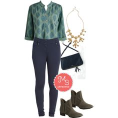 In this outfit: Serene Sensation Top, Freelance Photographer Pants, Bubbling with Bliss Necklace, Assistant Interviews Bag, Lucky Penny Bootie #casual #booties #fall #workwear #outfits #separates #cute #chic #ModCloth #ModStylist #fashion