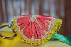 keychain grapefruit, handbraided from raffia