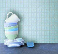 Klare mosaikk kjøkkenfliser med hvit fugemasse = <3 Mugs, Tableware, Kitchen, Creative, Cuisine, Dinnerware, Cups, Mug, Dishes