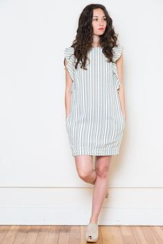 jessie ruffled sleeve dress by sam & lavi + adorable ruffle dress+ shift fit+zips down back+ made in USA+ 80% rayon, 20% polyester