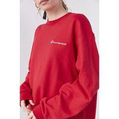 Champion + UO Mini Logo Crew-Neck Sweatshirt ($55) ❤ liked on Polyvore featuring tops, hoodies, sweatshirts, logo top, red sweatshirt, logo sweatshirts, red top and crew neck sweatshirts