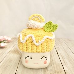 Lemon tart hat for marshmallow mugs farmhouse style decor Rae Dunn inspired decor crochet hat lemon decor Marshmallow Crafts, Valentine Hats, Cute Marshmallows, Crochet Projects, Crochet Ideas, Craft Projects, Craft Ideas, Hot Chocolate Mug, Halloween Displays
