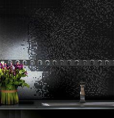 Best bath room black mosaic back splashes ideas Ceramic Mosaic Tile, Mosaic Backsplash, Backsplash Ideas, Walk In Bath, Dark Bathrooms, Best Bath, Shower Remodel, Stone Houses, Room Accessories