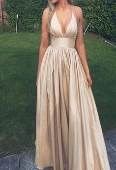 Deep V-neck Prom Dresses, Champagne Prom Dresses, Long Custom Prom Dresses, Long Party Dresses, Simp on Luulla
