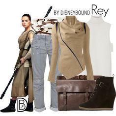 Rey by leslieakay on Polyvore featuring ADAM, Balmain, Mint Velvet, MANGO, Chan Luu, Abercrombie & Fitch, disney, disneybound, starwars and disneycharacter