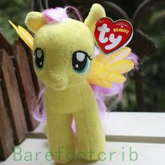 "NEW My Little Pony Fluttershy 7"" Plush Licensed TY Beanie Babies Stuffed Toy"