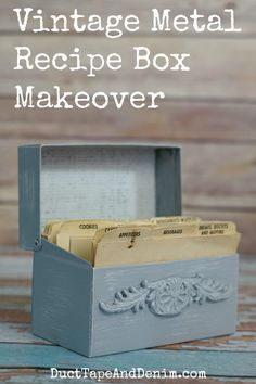 DIY Recipe Box - Vintage Metal Recipe Box Makeover with Chalky Finish paint and paper clay molding. You won't believe how it started out! DuctTapeAndDenim.com