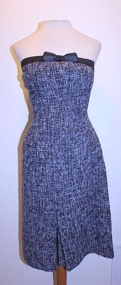 Express Dress 2 Black White Tweed Wool Blend Bow Front Strapless Sheath Dress #Express #Sheath #CocktailParty