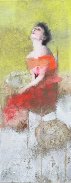 Veronique Paquereau, L'attente, Gemengde techniek op doek, 100x50 cm, €.800,-