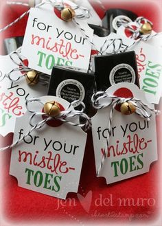 co-worker gifts, nailpolish, tag, bakers twine, jingle bell