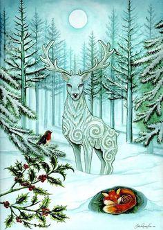 Winter Wonder Yule Christmas Holiday Art Greetings by FaerieCraft Christmas Art, Winter Christmas, Winter Holidays, Vintage Christmas, Xmas, Wiccan, Wicca Witchcraft, Magick, Illustration Noel