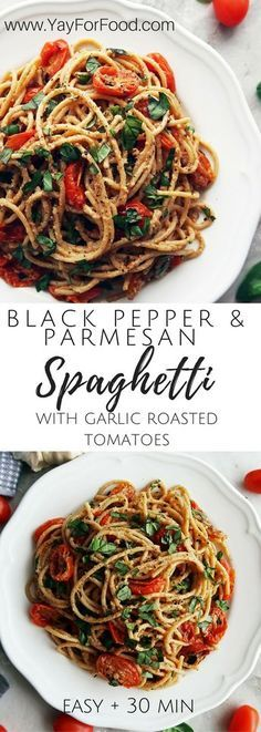 Black Pepper & Parmesan Spaghetti with Garlic Roasted Tomatoes Inspired by Cacio e Pepe (aka cheese and pepper), this delicious pasta dish is complemented with garlic roasted cherry tomatoes and fresh basil. An easy meal option that's ready in 30 minutes! Yummy Pasta Recipes, Vegetarian Recipes, Dinner Recipes, Cooking Recipes, Healthy Recipes, Easy Recipes, Salad Recipes, Simple Pasta Recipes, Chicken Recipes