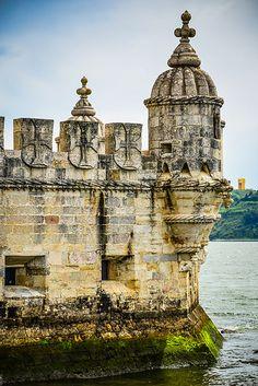 Moorish bartizan turrets at Torre de Belém on the Tagus River - Lisbon Portugal