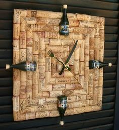 Wine cork clock with custom wine labels on bottles that have replaced the all…