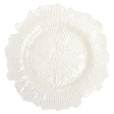 Lend a touch of garden-chic appeal to your tablescape with this lovely glass charger plate, showcasing a floral-inspired silhouette and white finish.