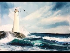 I got a request to paint a lighthouse with waves. I really liked painting this one because I got to use two of my favorite colors: Viridian Hue and Turquoise...
