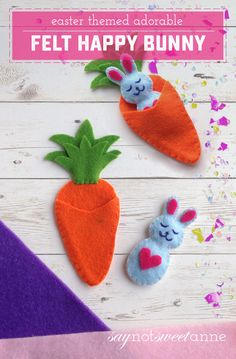 Celebrate spring and Easter with this adorable Happy Bunny! This easy felt craft. - Celebrate spring and Easter with this adorable Happy Bunny! This easy felt craft. Easter Projects, Easter Crafts For Kids, Fun Projects, Children Crafts, Easter Ideas, Spring Crafts, Holiday Crafts, Easy Felt Crafts, Crafts With Felt