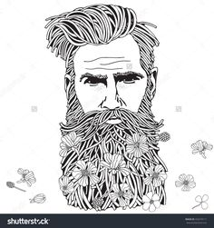 Bearded Hipster Man. Coloring Book Page For Adult. Hand Drawn Hipster Man With Long Beard And Flowers. Black And White. Spring Flowers. Line Art. Vektorová ilustrace 420274111 : Shutterstock