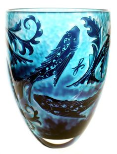 Jonathan Harris ~ Intrinsic Cameo Indigo Fish Vase