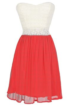 Bright Days Chiffon and Lace Dress in Red