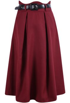 Shop Wine Red Pleated Woolen Skirt online. SheIn offers Wine Red Pleated Woolen Skirt & more to fit your fashionable needs.