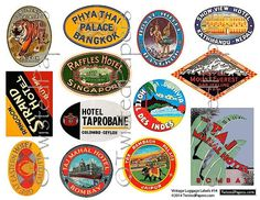 LUGGAGE STICKERS Vintage India & Southeast Asia by TwistedPapers, $2.00