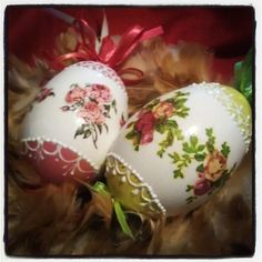 Decoupage Easter eggs