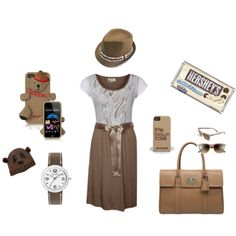 """Brown and White"" by sawilson98 on Polyvore"