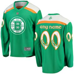 St. Patrick's Day Boston Bruins Jersey - Green custom jerseys.  Add the name and number of any player on the Bruins roster.  S, M, L, XL, 2X (XXL), 3X (3XL).  #bostonbruins #stpatricksday #nhl #jerseys