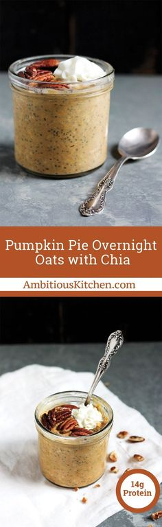 Thick and creamy pumpkin pie overnight oats with chia are a nutritious, healthy breakfast. Top with nuts, maple syrup, cranberries, coconut or whatever your heart desires!