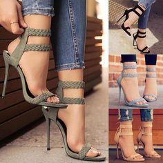 New Fashion Women Ankle Strap High Heels Vintage Summer Peep Toe Shoes for Party Street Style Spring Heels for Ladies Ankle Strap High Heels, Open Toe High Heels, Black High Heels, High Heel Pumps, Pumps Heels, Stiletto Heels, Gold Heels, Ankle Straps, Strap Heels