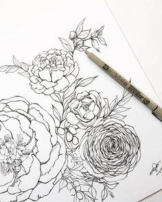 a sketch that I never finished colouring #botanicalchallenge #artguide_illustration #floralbouquet #botanicalillustration #lineart #blackworknow #botanicallinedrawing  #Regram via @byellado