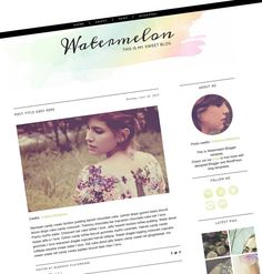 Premade Blogger Template - Responsive Blog Template - Clean Blogger Design - Simple Blog Theme - Watercolor - Lime and Black - Watermelon