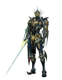 Knight Cavalier in Armor with Lance - Pathfinder PFRPG DND D&D d20 fantasy