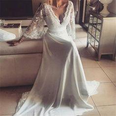 Boho Style Long Sleeve V-neck Long A-line Lace Chiffon Wedding Dresses, WD0096 #weddingdress