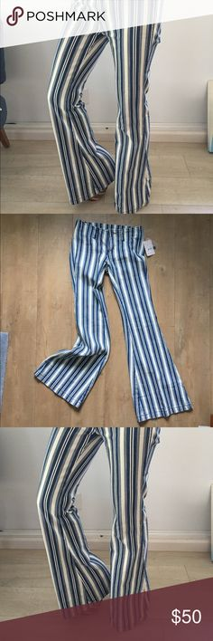 Free people Striped Flare! 80$ MSRP NWTsz 25-27 Free people Striped Flare! 80$ MSRP NWTsz 25,BUT WITH STRETCH, easy 26-27  Perfect fit!! I'm having babies, new chapter, new style. MEASUREMENTS COMING... Need to wear platforms!  Sooo fun to wear!! Taking first Offer! Free People Pants Wide Leg