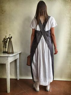 Linen Pinafore Apron Linen Apron Crafts Apron Dark Pinafore