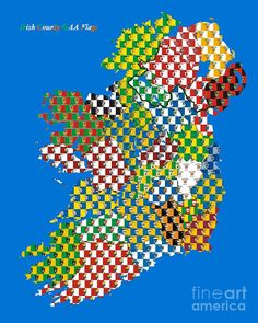 The Irish Counties outlined with their GAA flags Outline, Colours, Fine Art, Flags, Irish, Graphics, Irish Language, Graphic Design, National Flag