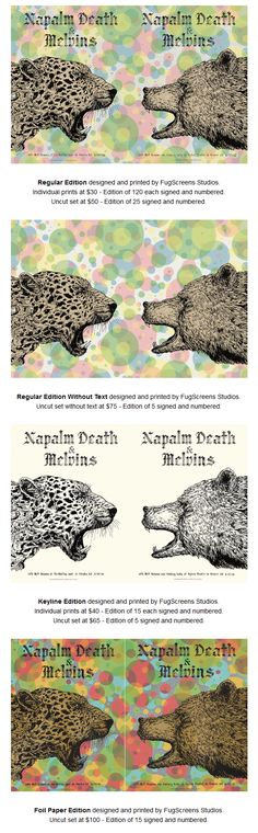 Napalm Death & Melvins gig posters by Fugscreen Studios