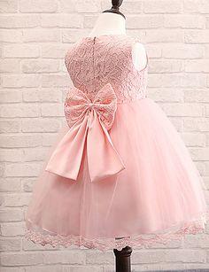 Flower Girl Dress Tea-length Cotton/Lace/Tulle/Polyester Ball Gown Sleeveless Dress – GBP £ 18.24