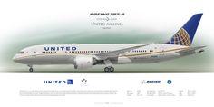 Boeing 787-8 United Airlines N45905   Airliner Profile Art Prints   www.aviaposter.com   #airliners #aviation #jetliner #airplane #pilot #aviationlovers #avgeek #jet #sideplane #airport #dreamliner #b787