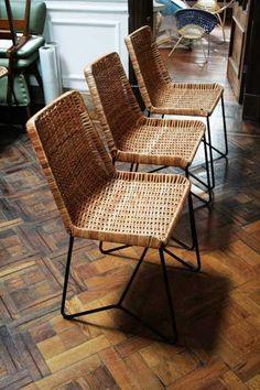 sillas de hierro y mimbre para comedor/cocina
