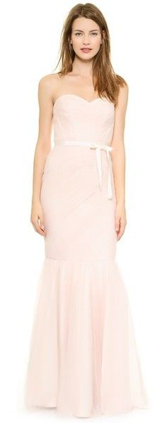 Monique Lhuillier Bridesmaids Strapless Mesh Gown, pink long bridesmaid dress http://www.shopstyle.com/action/loadRetailerProductPage?id=459296229&pid=uid7609-25959603-56