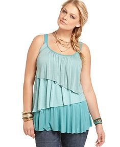 ing plus size top, sleeveless colorblocked ruffle - plus size tops
